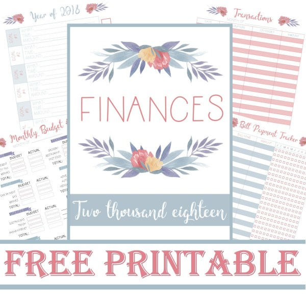 free printable planner finances transactions bill payment monthly budget checklist year goals 2018 layout menu calmandwave main