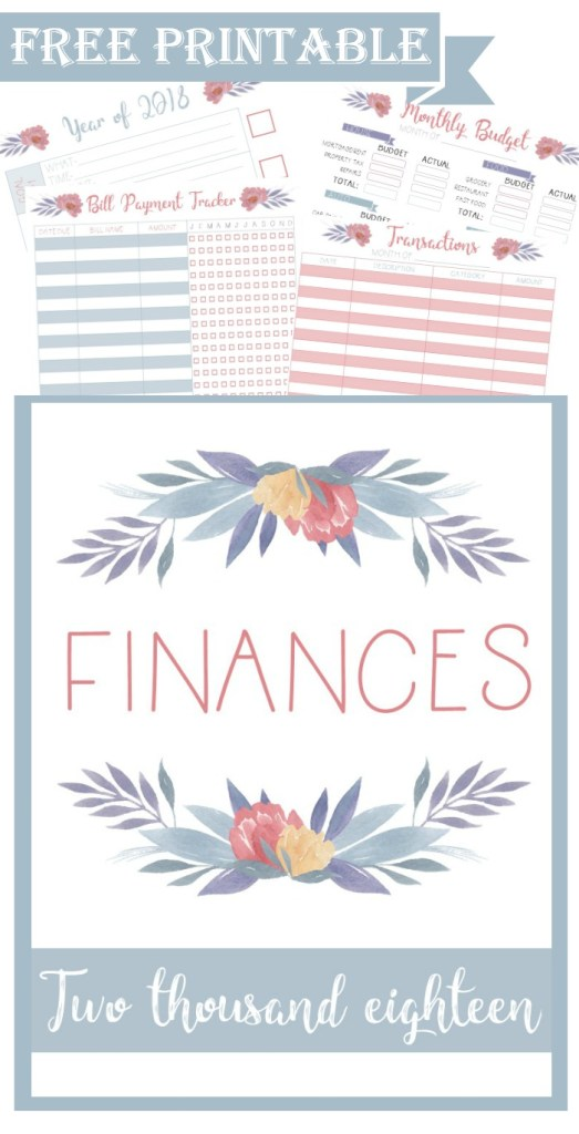 free printable planner finances transactions bill payment monthly budget checklist year goals 2018 layout menu calmandwave pinterest