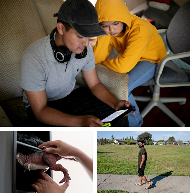 Eduardo juega videojuegos con su sobrina Emily. Eduardo da un paseo por un parque cerca de su casa donde a veces juega Pokémon Go. Eduardo guarda un dinosaurio de juguete de su colección. Fotos de Anne Wernikoff, CalMatters