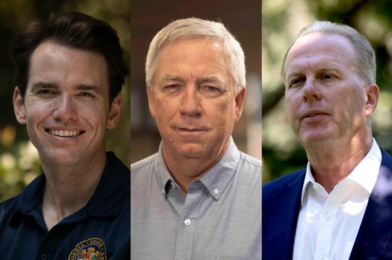 Los republicanos recuerdan a los candidatos a gobernador Kevin Kiley, Doug Ose y Kevin Faulconer. Fotos de Anne Wernikoff, CalMatters; Doug Ose para gobernador