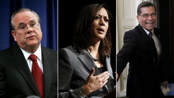 From left to right, former California attorneys general Bill Lockyer and Kamala Harris and current attorney general Xavier Becerra. (Rich Pedroncelli / Associated Press; Damian Dovarganes / Associated Press; Gary Coronado / Los Angeles Times)
