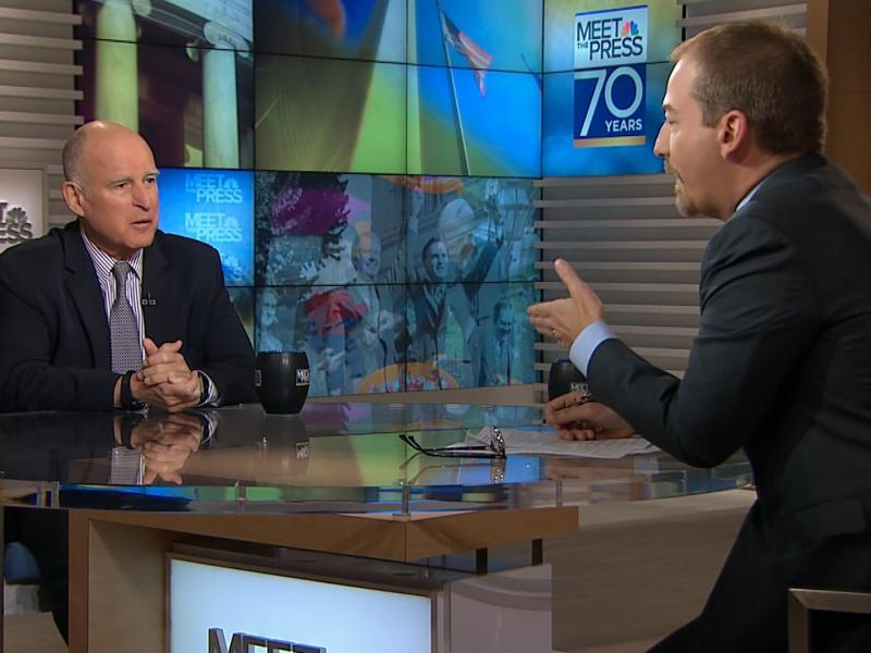 "Gov. Jerry Brown's appearance on NBC's ""Meet the Press"" in March of 2017"