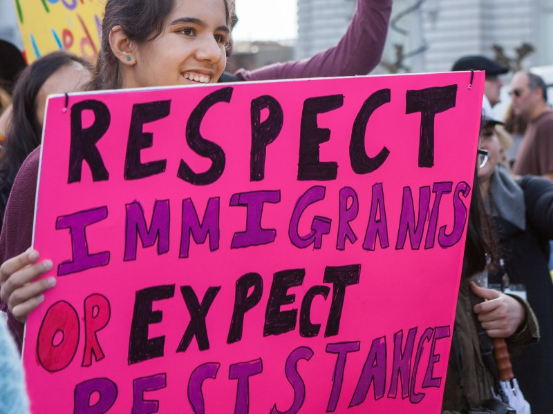 President Trump's immigration policy drew protesters in San Francisco, a sanctuary city that has for decades offered immigrants some protections from federal immigration officials. Photo by Pax Ahimsa Gethen (via Wikimedia Commons)