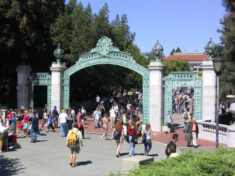 Students entering the UC Berkeley campus via Sather Gate. Photo via Wikimedia.