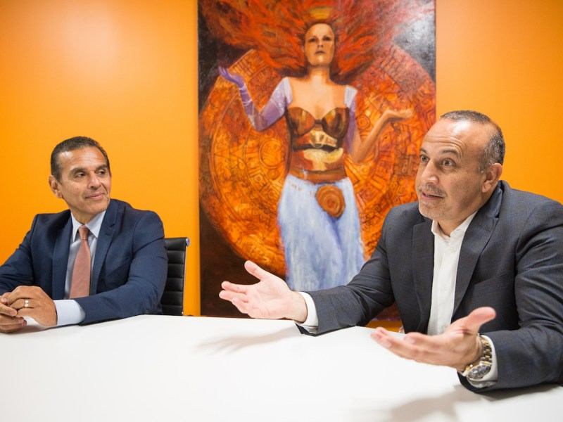California Democratic gubernatorial candidate Antonio Villaraigosa, left, and Republican political consultant Mike Madrid in the offices of Grassroots Lab in Sacramento, California, November 16, 2017. Photo by Max Whittaker for CALmatters