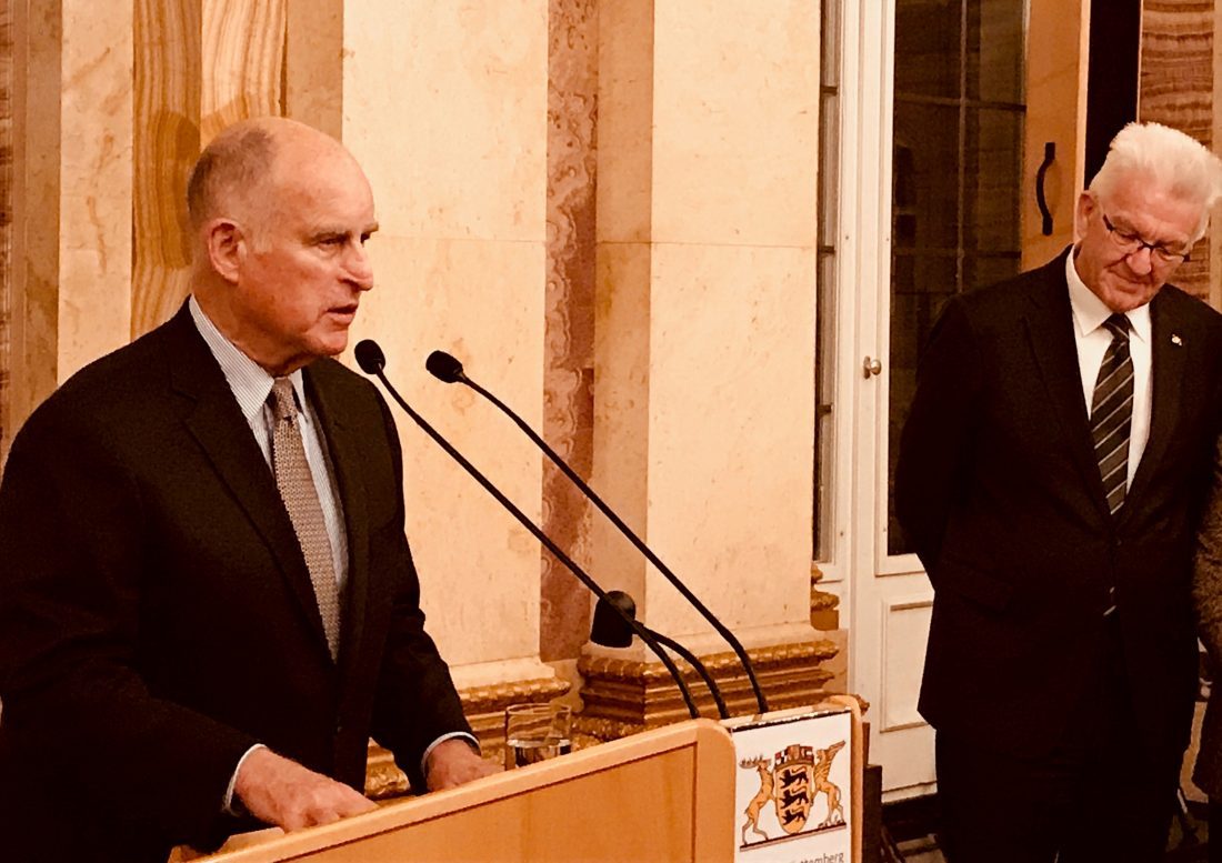 Gov. Jerry Brown speaks to European officials on climate change in November 2017. Photo by Julie Cart/CALmatters