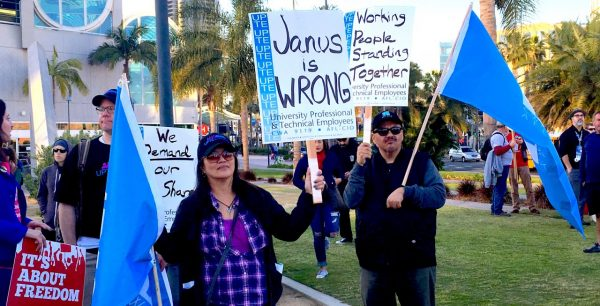 Union members protest the Janus case at the California Democratic Party convention in San Diego. Photo by Laurel Rosenhall for CALmatters