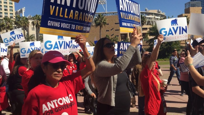 Union supporters of both Antonio Villaraigosa and Gavin Newsom outside the San Diego Convention Center.