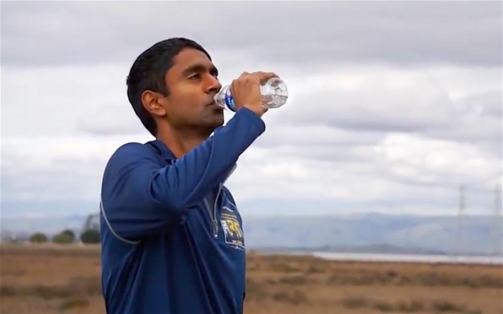 Vivek Viswanathan, Democratic candidate for treasurer, is running across California. Screenshot of his campaign's video.