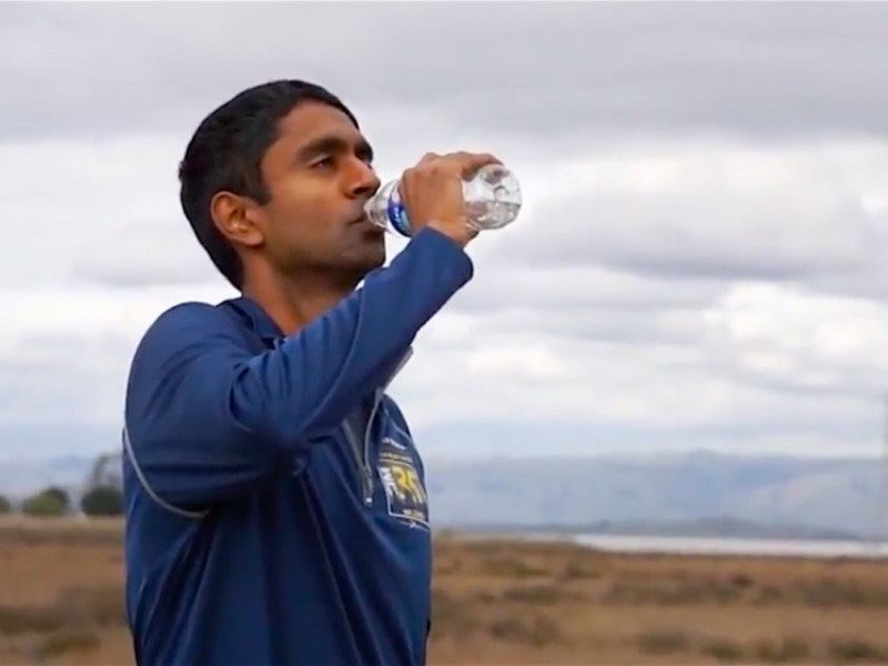 Vivek Viswanathan, Democratic candidate for treasurer, is running across California. Screenshot of his campaign's video.