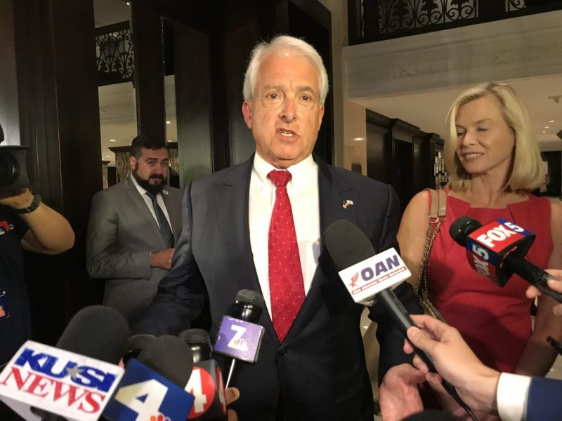 GOP gubernatorial candidate John Cox speaks to reporters on Election Night. Photo by Samantha Young for CALmatters