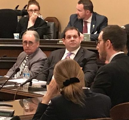 State Sen. Scott Wiener, a San Francisco Democrat, is shown testifying in from of the California Assembly's Communications and Conveyance Committee on SB822, a bill that would create a net neutrality policy in the state of California.