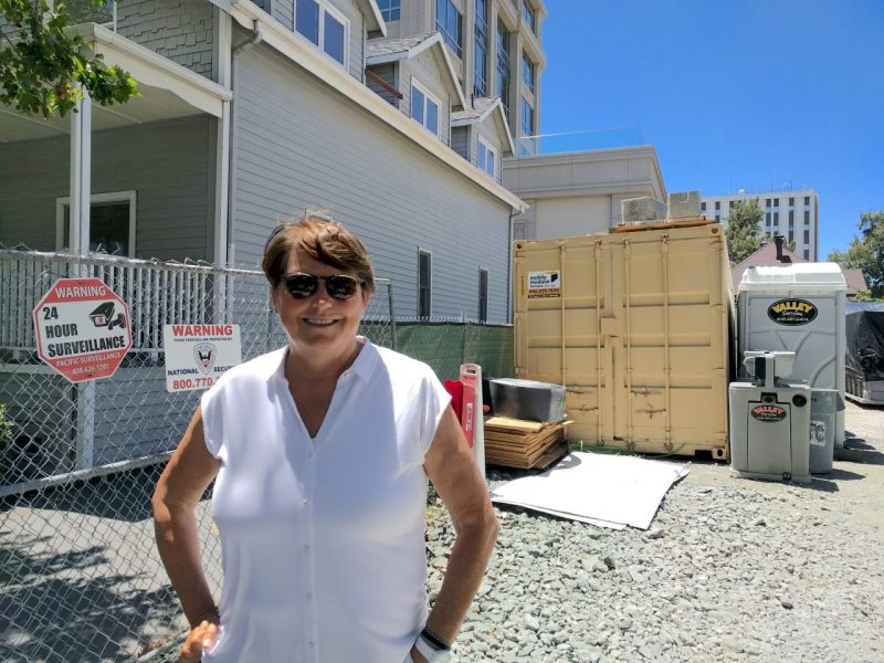 Maureen Sedonaen, CEO of Habitat for Humanity Greater San Francisco, stands in the vacant lot where the nonprofit is looking to build new affordable housing. Photo by Ben Bradford/Capital Public Radio