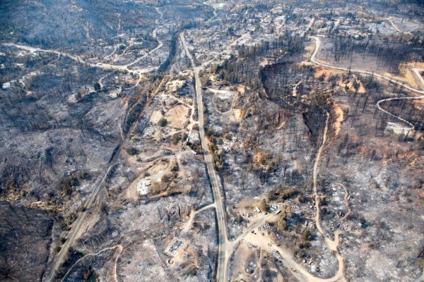 An aerial photo of the vast, blackened area around Keswick Dam in Shasta County after the devastating Carr Fire.