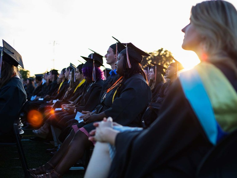 Graduation ceremony at Roseville High School in 2017. Photo by Robbie Short for CALmatters