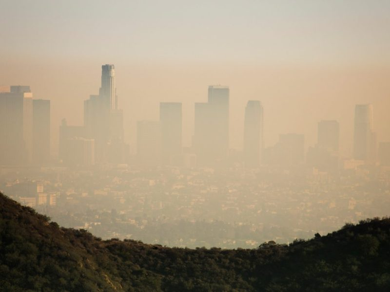 Downtown Los Angeles covered in smog is shown. Photo by MattGush via Getty Images