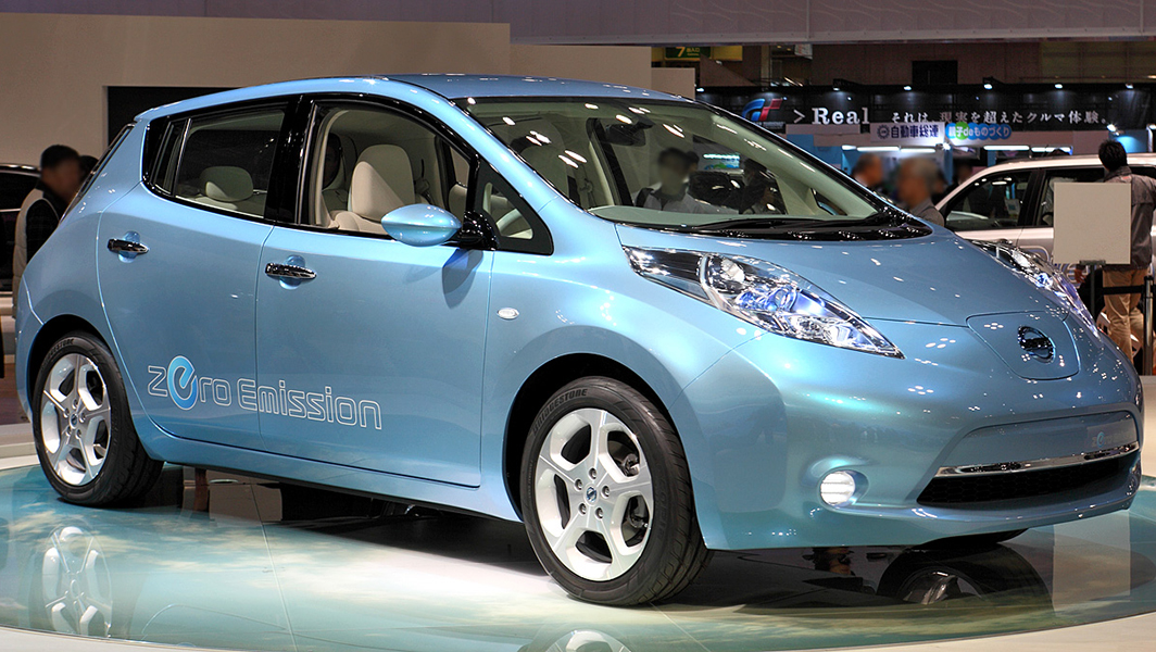 The Nissan Leaf, a zero emission vehicle, is shown. | Photo credit: Tennen-Gas