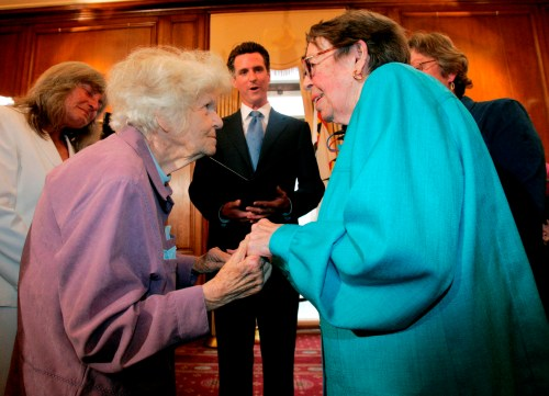 Newsom presided as Phyllis Lyon and Del Martin became the first officially married same sex couple after California's Supreme Court ultimately declared gay marriage legal. Photo by Marcio Jose Sanchez, Associated Press