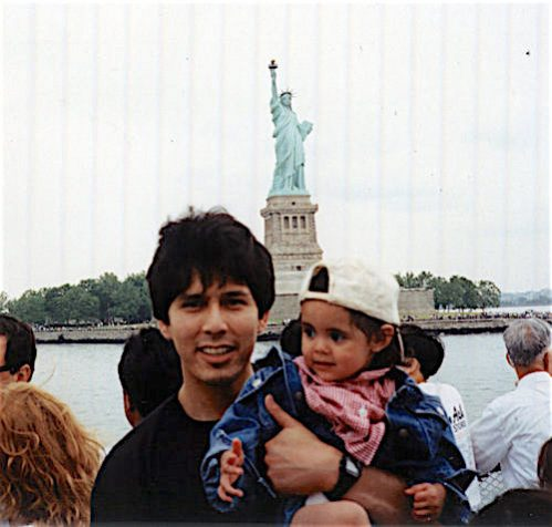 Kevin de León on a visit to the Statute of Liberty with his daughter, Lluvia de Milagros Carrasco. She is now 23 and pursuing a modeling career. Photo courtesy of de León.