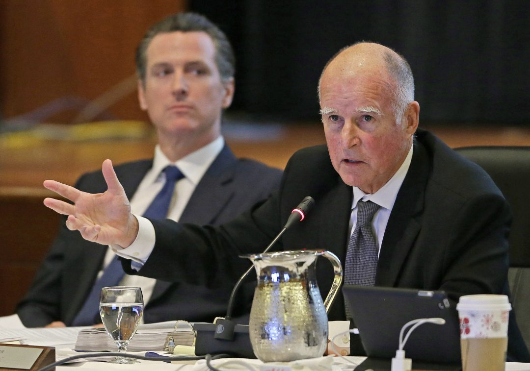 Gavin Newsom and Jerry Brown