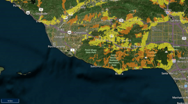 The area around Malibu and Thousand Oaks, with wildland-urban interface coded with orange and yellow. Virtually all of Thousand Oaks and the Malibu coast is within the W.U.I. Screenshot via the Spatial Analysis For Conservation and Sustainability at the University of Wisconsin-Madison.