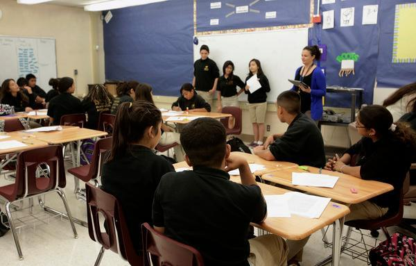 An eighth-grade language arts and history class at Alpha: Blanca Alvarado Middle School, a charter school in San Jose's Alum Rock neighborhood, in 2013. (Gary Reyes/Bay Area News Group)