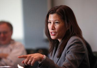 Tani Cantil-Sakauye, the chief justice of the California State Supreme Court, talks with the Mercury News editorial board at the Mercury News in San Jose Thursday Jan. 26, 2012. (Patrick Tehan/Staff)