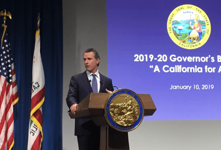 Gov. Gavin Newsom presents his proposed $209 billion budget on January 10, 2019, in Sacramento. Photo for CALmatters by Laurel Rosenhall