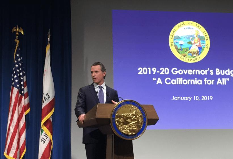 Gov. Gavin Newsom presents his proposed $209 billion budget on January 10, 2019, in Sacramento. Photo for CALmatters by Laurel Rosenhall
