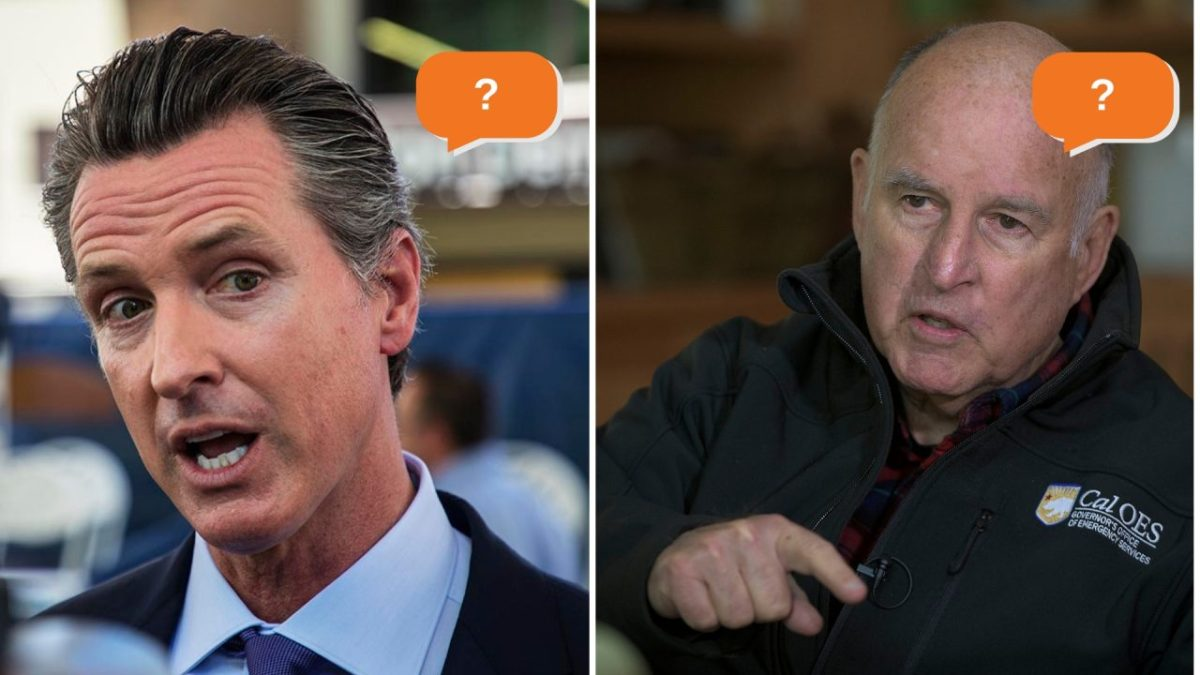 Photos of Gov.-elect Gavin Newsom and Gov. Jerry Brown next to speech bubbles with question marks in them are shown.