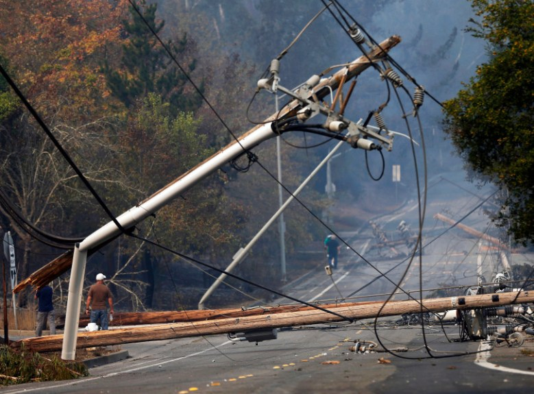 A fallen transformer and downed power lines in Santa Rosa, following the Tubbs Fire of 2017.
