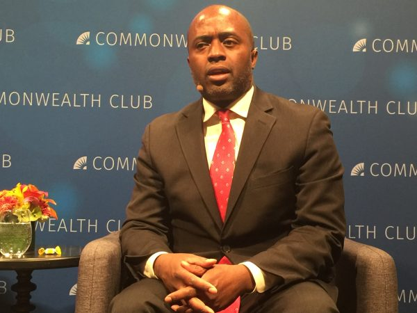 CALmatters' education writer Ricardo Cano interviews California Superintendent of Public Instruction Tony Thurmond on March 21, 2019, at the Commonwealth Club. Photo for CALmatters by Vicki Haddock