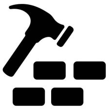 an illustration of a hammer and bricks