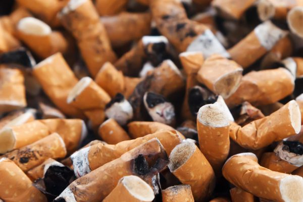 Cigarette butts in a pile
