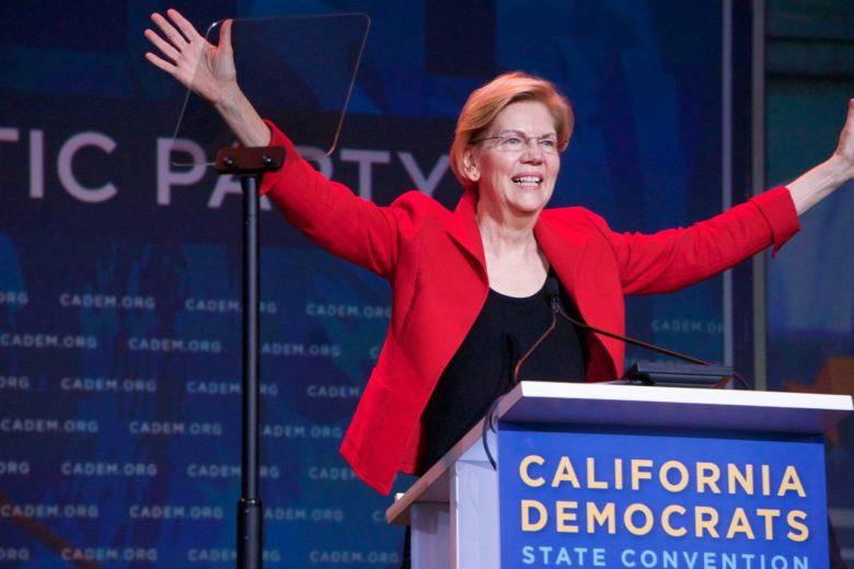 Elizabeth Warren enthralls delegates to the 2019 California Democratic Convention in San Francisco. Photo by Ben Christopher for CALmatters