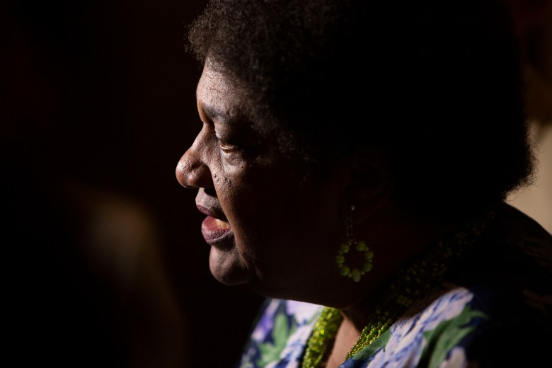 Assembly member Shirley weber gives a press conference after the passing of her bill AB 392, which would limit the use of 'deadly force' by police, on July 8, 2019.