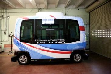 An autonomous bus at GoMentum Station. Photo by Maria J. Avila for CalMatters