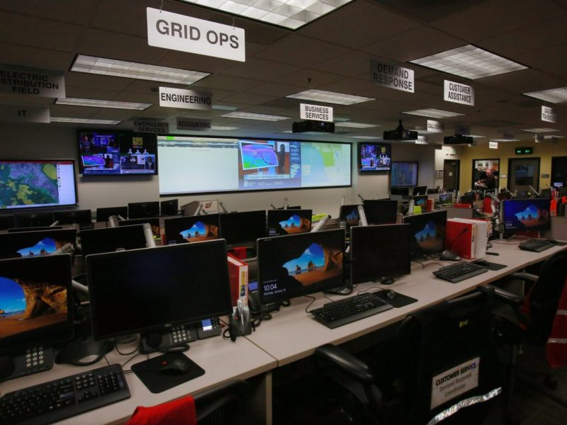 An emergency operations center stands ready at San Diego Gas & Electric in the event of a threat or attack to the electricity grid in California. Photo by Peggy Peattie for CALmatters