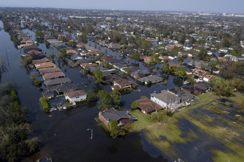 Four days after Hurricane Katrina made landfall on the Gulf Coast in 2005, many parts of New Orleans remained flooded. Photo via U.S. Navy