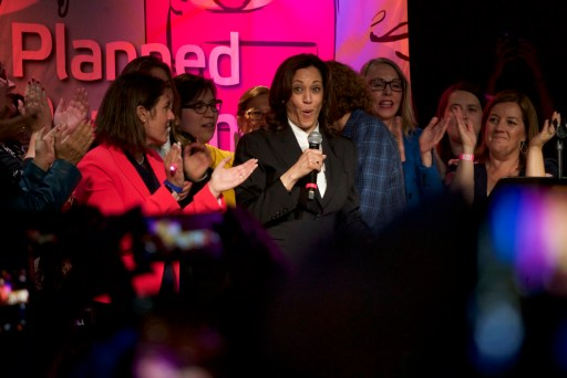 Kamala Harris surrounded by California female lawmakers at a Planned Parenthood event in downtown San Francisco.