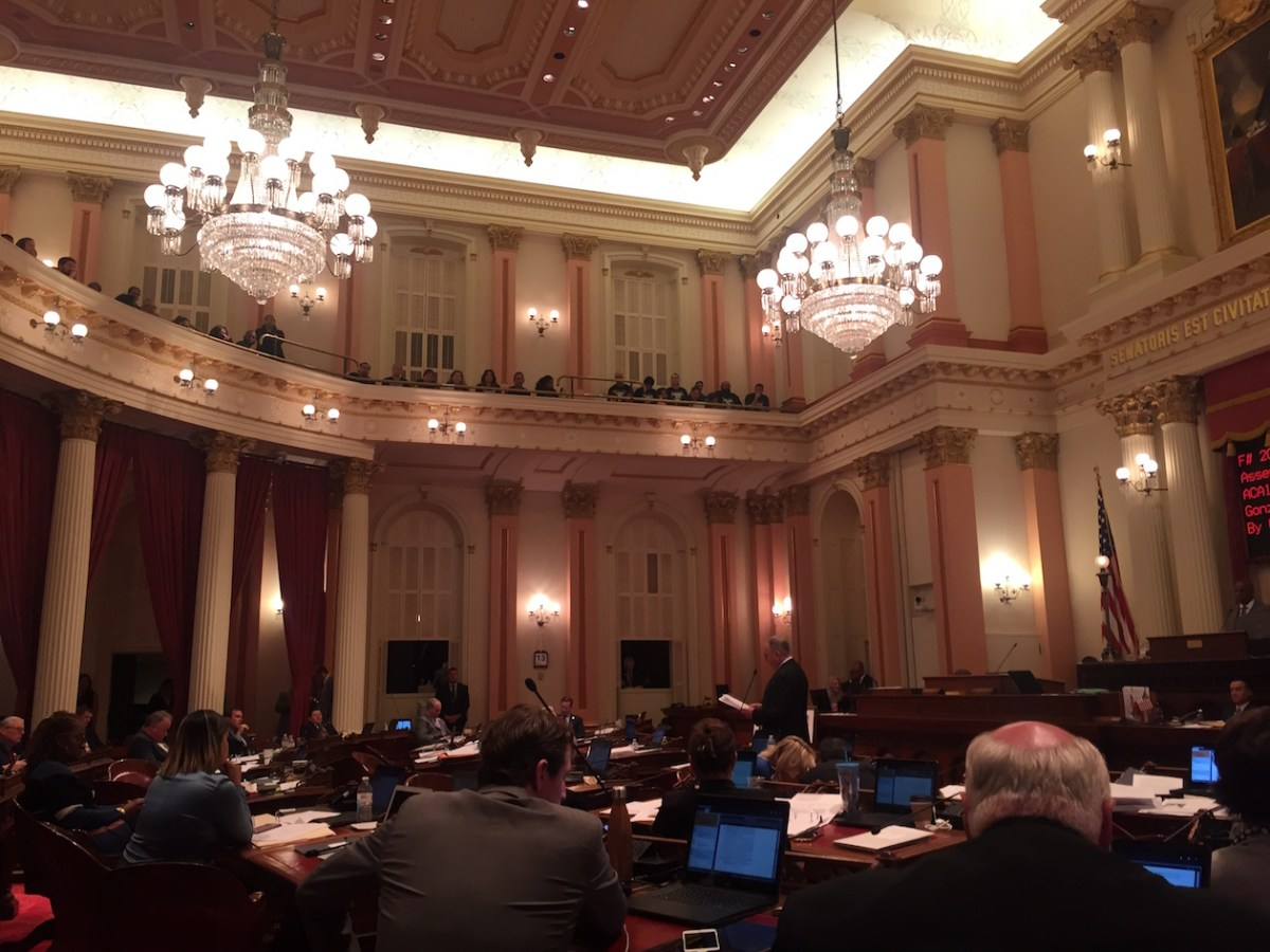 The California Senate just a few hours before a protestor splattered a cup of red fluid onto the floor (and more than a few Senators) disrupting proceedings for hours and forcing the entire body to relocate upstairs.