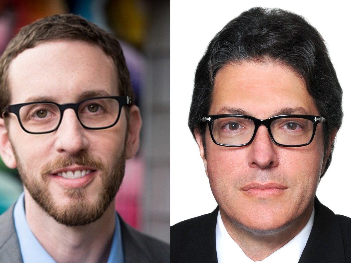 State Sen. Scott Wiener (left), Democrat from San Francisco, and Beverly Hills Mayor John Mirisch (right).
