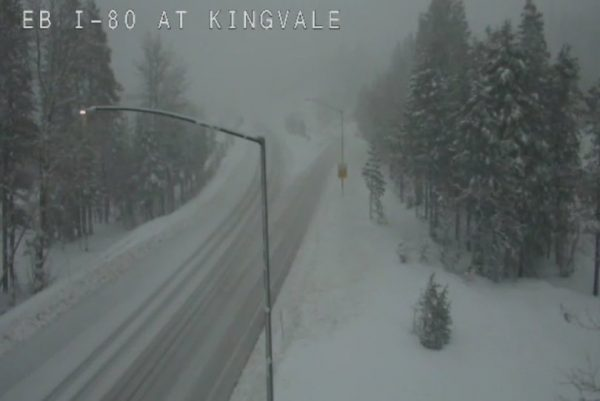 Interstate 80 near Soda Springs February 2019 in the Sierra Nevada. Photo courtesy of the State Department of Transportation