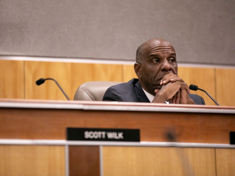 Sen. Steven Bradford, now a member of the state's reparations committee, listens to testimony during a Senate hearing in 2019. Photo by Anne Wernikoff for CalMatters