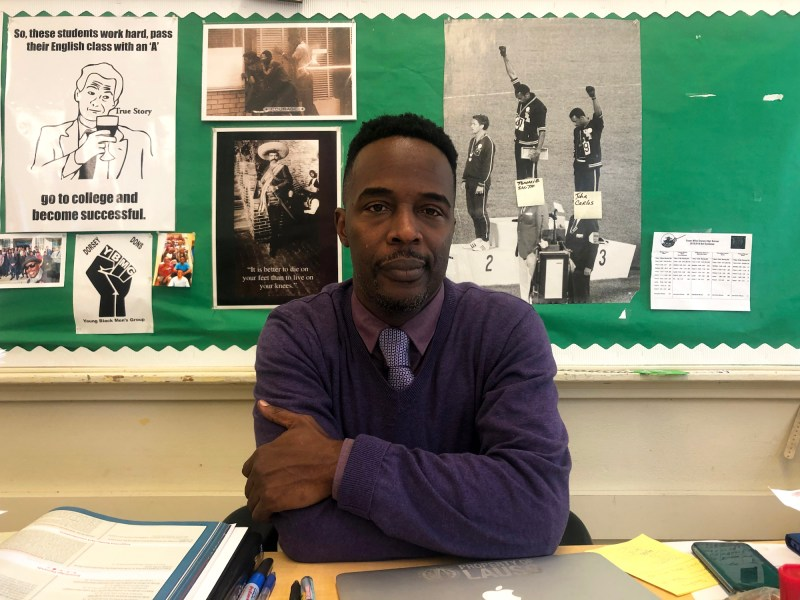 "Darryl McKellar has been teaching for 20 years. ""I'm like Batman,"" he says. ""I use every trick in my utility belt to get a kid to buy into education."" Photo by Vanessa Rancano, KQED News"