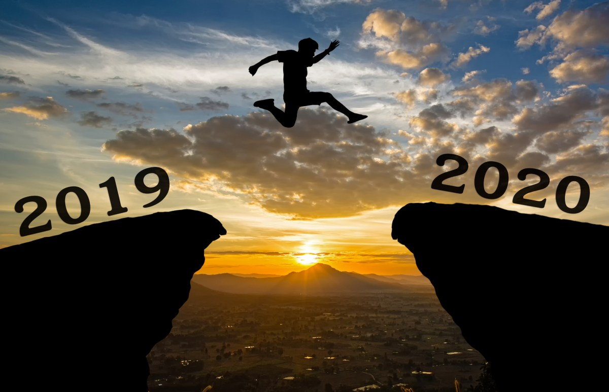 Silhouette jumping from 2019 to 2020 — photo via iStock