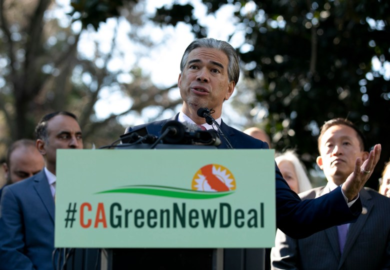 Assemblymember Rob Bonta announces the California Green New Deal Act at a press conference on opening day of the 2020 legislative session