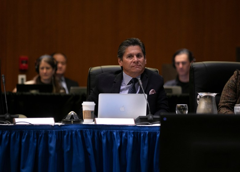 Regent Eloy Ortiz Oakley listens to public comment during the open session of the UC Regents meeting on January 23, 2020 at the UCSF Mission Bay Conference Center