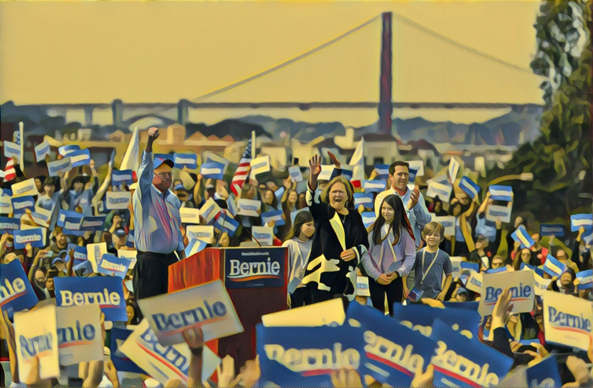 a photo illustration of Bernie Sanders at a rally in San Francisco.