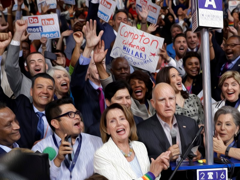 House Minority Leader Nancy Pelosi of Calif., is joined by California delegates during the second day session of the Democratic National Convention in Philadelphia, Tuesday, July 26, 2016.